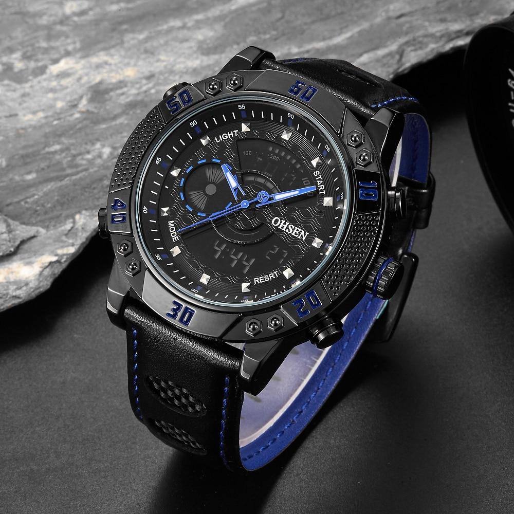 Original Brand OHSEN Fashion Quartz Digital Male Watch Water Resistant Man Sports Clock Mens Blue Dual Time Display Wristwatches ohsen 2821 sport quartz watch blue