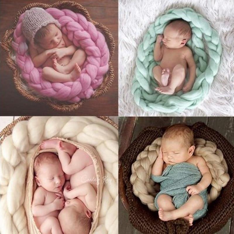 الوليد الطفل التصوير الدعائم خلفية الطفل صور بطانية الصوف تويست جديلة سلة ستوفير الرضع