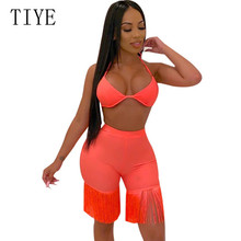 TIYE Sexy Two Pieces Sets Halter Top and Tassel Pants Elegant Sleeveless Hollow Out Jumpsuits Summer Backless Party Playsuits