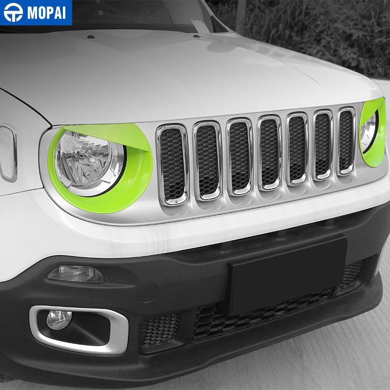 Image 2 - MOPAI Car Front Head Light lamp Decoration Cover Stickers for Jeep Renegade 2015 Up ABS Exterior Car Accessories Styling-in Lamp Hoods from Automobiles & Motorcycles