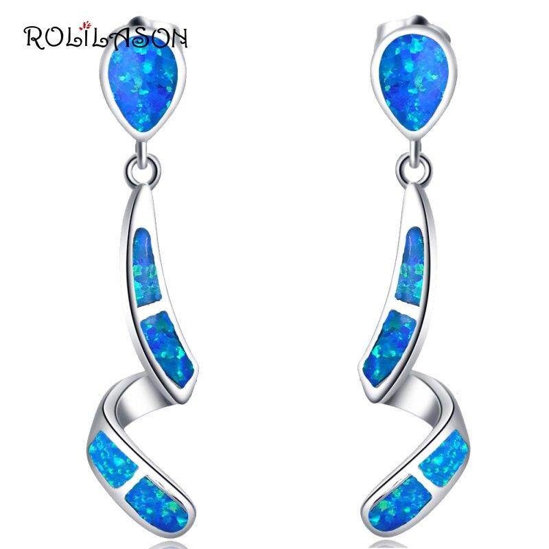 925 Sterling Silver Drop Earrings Party gift Created blue Fire opal jewelry Earrings For Women SE008