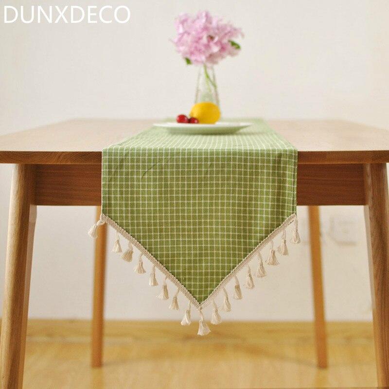 dunxdeco nordic stile country di spunta verde frindge cotone di tela runner partito tovaglia cucina copertura