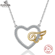 EUDORA Unique 925 Sterling Silver Guardian Angel Heart Pendant Necklace For Women Fine Jewelry Girl Birthday Perfect Gift D256 u7 100% 925 sterling silver 3d little angel necklace for girl women birthday gift dainty jewelry silver 925 chain