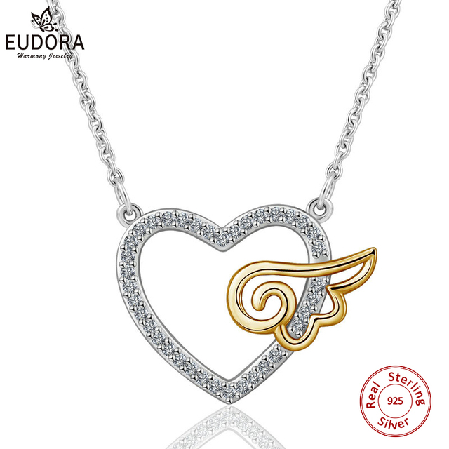 EUDORA Unique 925 Sterling Silver Guardian Angel Heart Pendant Necklace For Women Fine Jewelry Girl Birthday Perfect Gift D256