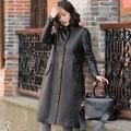 2017 Spring New Slim Sheep Skin Coat Lady Long Section Genuine Leather  Windbreaker SH3