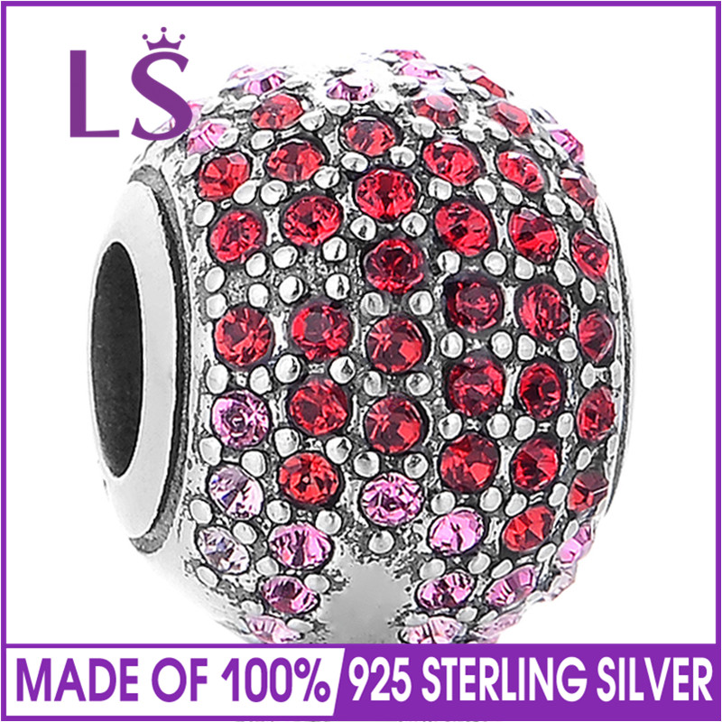 LS Silver 925 Jewelry Round Charm With Red Crystal European Charm Beads Fit Cute Bracelet Kids Chamrs DIY Fashion Jewelry