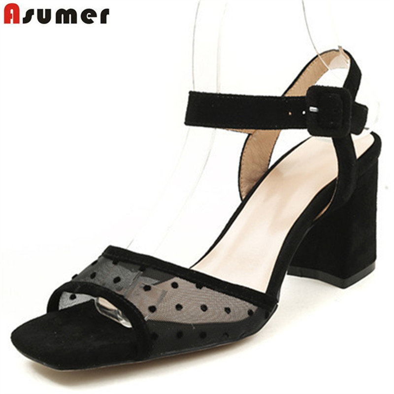 ASUMER black red fashion summer shoes woman buckle elegant sandals women square heel suede leather wedding shoes high heels