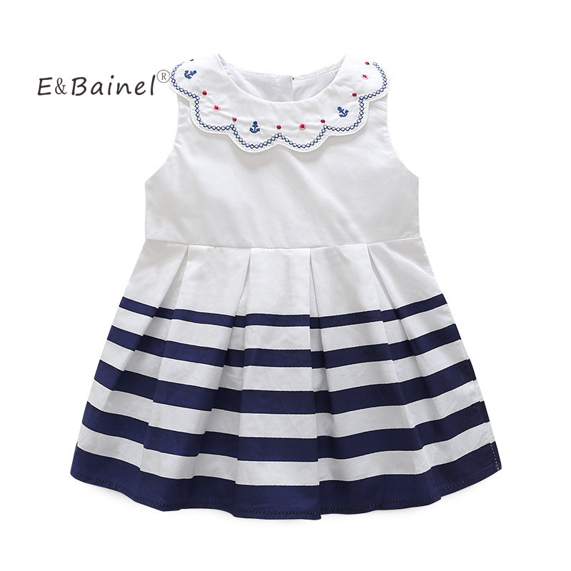 E&Bainel Girls Clothes Summer Sleeveless Navy Striped Baby Girl Dress Princess Dresses Casual Children Clothing For Girls