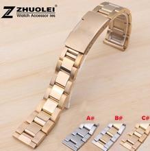 18mm 19mm 20mm 21mm 22mm New High Mens Brushed Watchbands Silver Black Gold Steel Bracelet Folding Clasp For Smart Watch