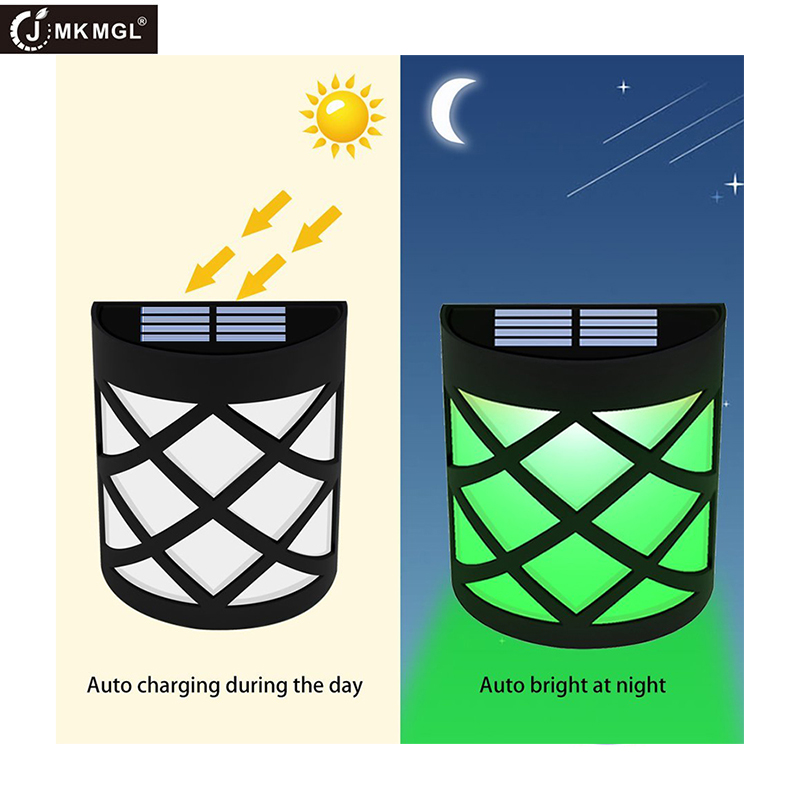 JMKMGL Sun Powered Outdoor Patio Deck Yard Lamp, Solar Light For Wall, Porch, Garden, Fence, Path,Dusk To Dawn Sensor Waterproof