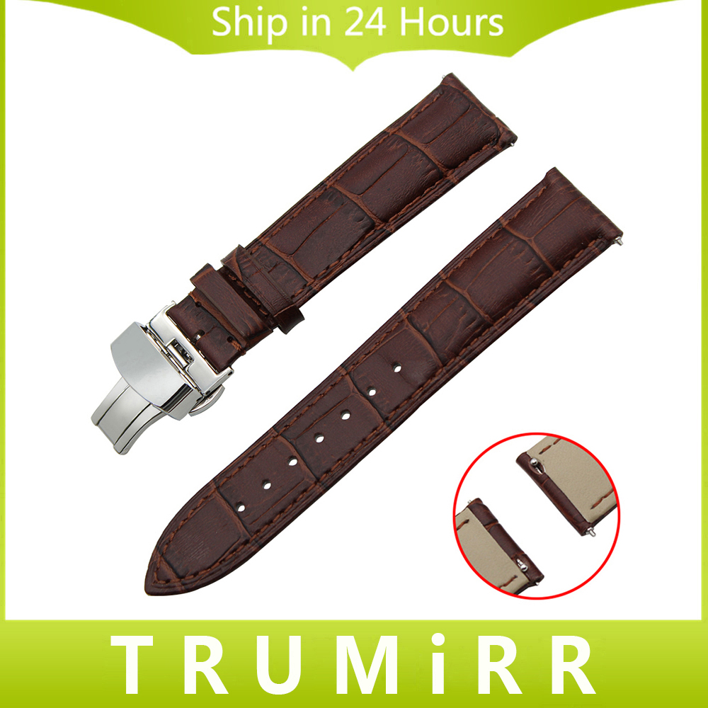 Quick Release Genuine Leather Watch Band Butterfly Buckle Strap for Citizen Men Women Wrist Bracelet Black Brown 18mm 20mm 22mm genuine leather watch band 22mm for pebble time steel stainless pin buckle strap quick release wrist belt bracelet black brown
