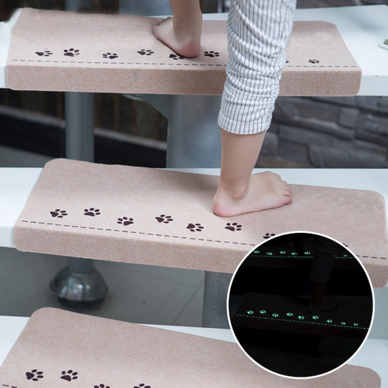 1 Piece Indoor Staircase Self Adhesive Fluorescent Mat Dog Footprint Claw  Pattern Carpets Step Wearable Soft Stair Treads Mats