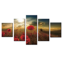 Framed 5 Piece Picture Flower series Canvas Art Print Oil Painting Wall Pictures for Living Room Paintings Decorativosn
