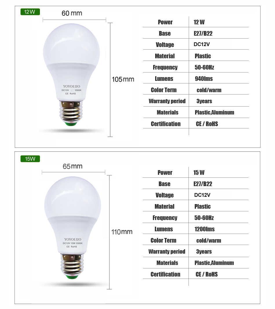 Yeni E27 Led Ampul 12 V LED Lamba 3 W 6 W 9 W 12 W 15 W DC12 Volt lampada Led E27 Ev Güneş Motoru Ev Ampul DC12V Soğuk Beyaz Sıcak beyaz
