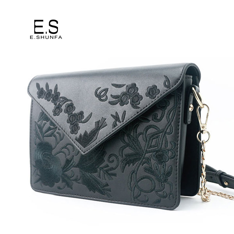 Women Messenger Bags 2017 Fashion Vintage Small Shoulder Bag PU Leather Chain Embroidery Flowers Casual Crossbody Bags For Women