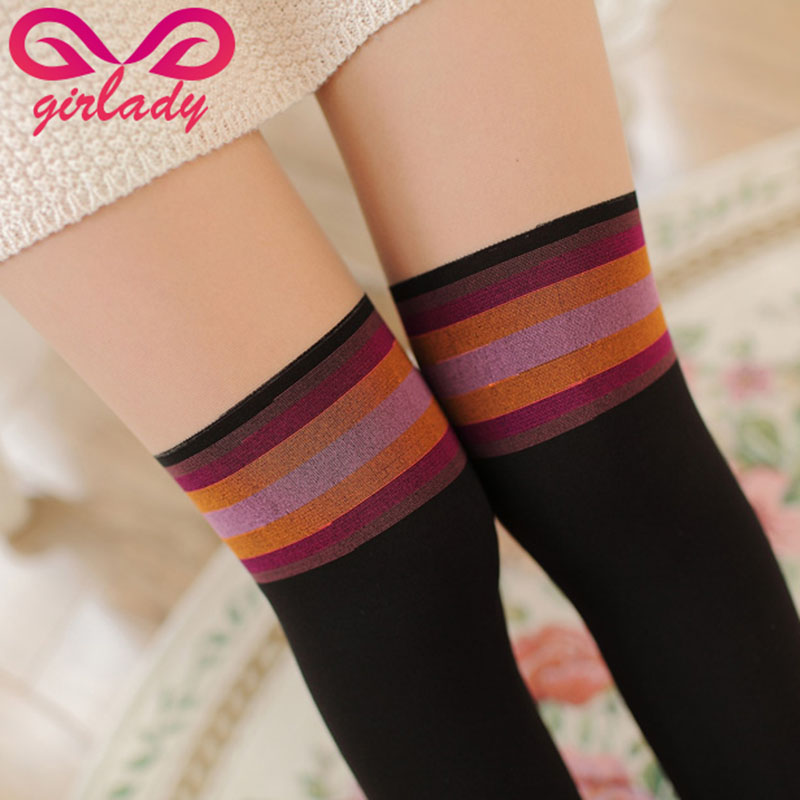 GIRLADY Gipsy Mock Ribbed Colorful Rainbow Stocking Patchwork Female Retro Vintage Women Pantyhose Quality Fashion Pantys Tights
