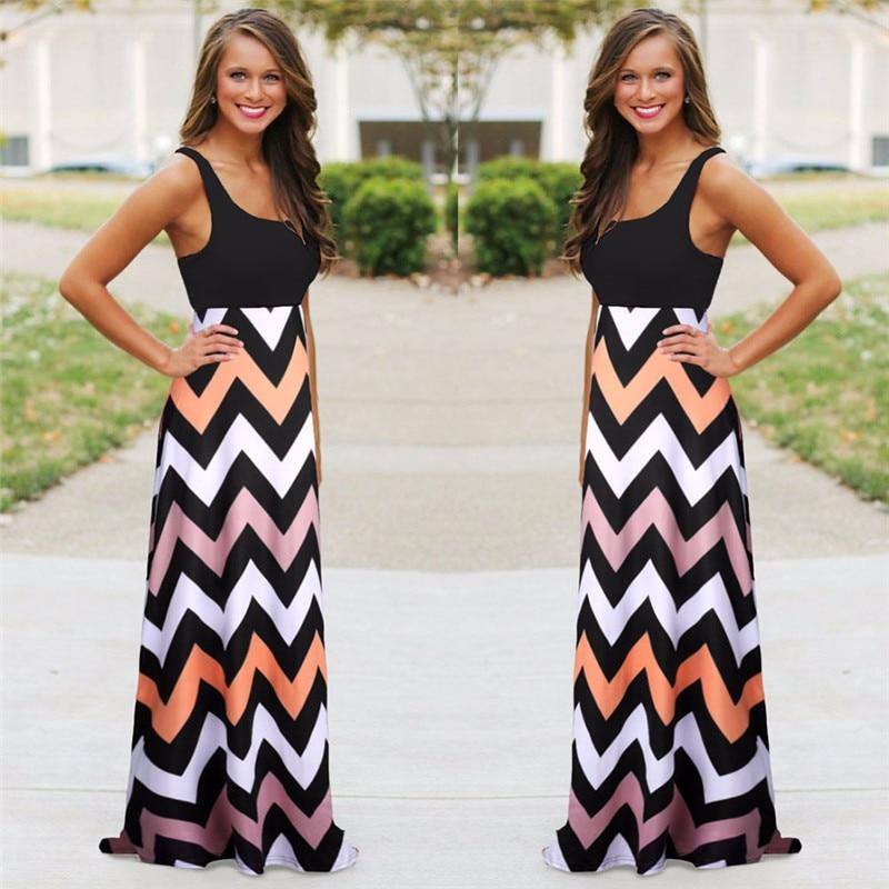 Women Summer Beach Boho Maxi Dress 2018 High Quality Brand Striped Print Long Dresses Feminine Plus Size 2