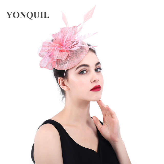 a38e87f385114 Pink Sinamy Summer Hair Fascinators Accessory Elegant Hair Clips Headwear  Bow Pillbox Hats Kenducky Derby Party