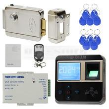 DIYSECUR Fingerprint 125KHz ID Card Reader Electric Lock Door Access Control System Kit + Door Bell + Remote Control