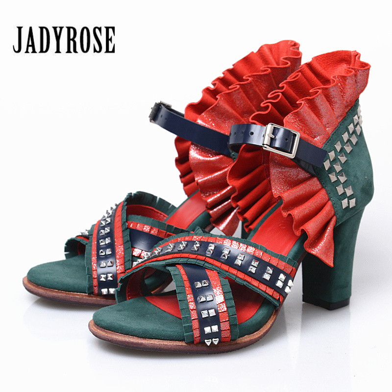 Jady Rose Mixed Color Women Gladiator Sandals Rivets Ankle Strap Women Pumps Summer Sandalias Mujer 8CM High Heel Shoes Woman
