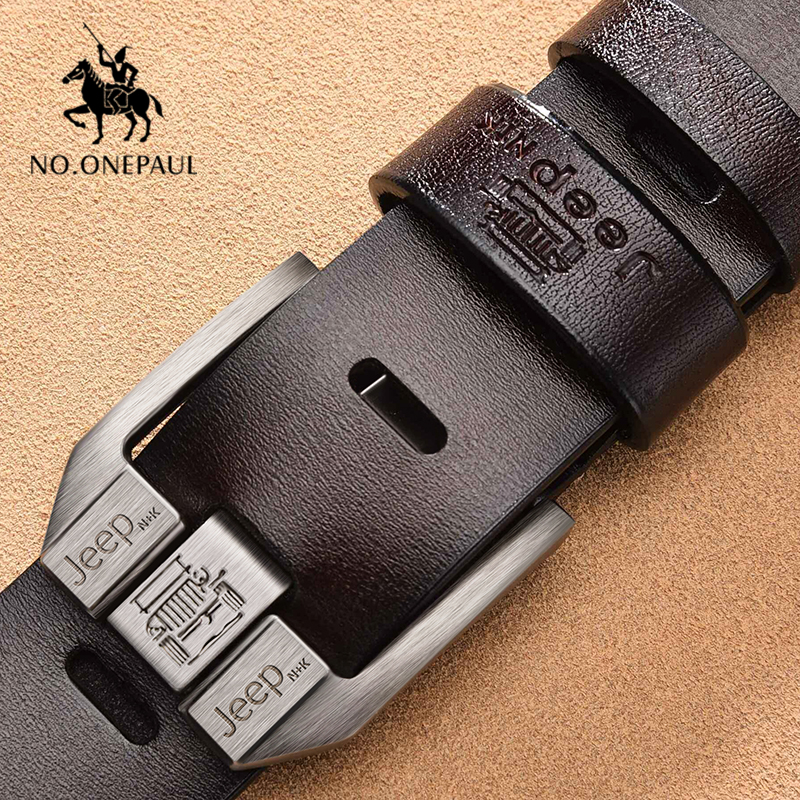 NO.ONEPAUL Genuine Leather For Men Black Buckle Jeans Cowskin Casual Business Belt
