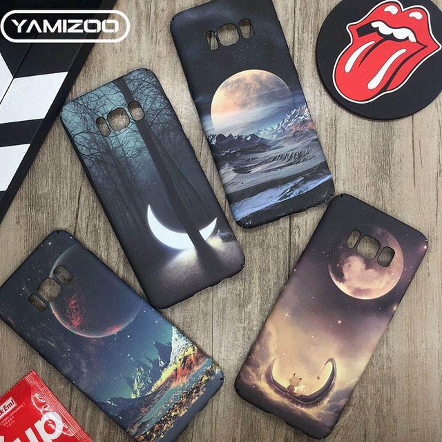 YAMIZOO Luminous Case For Samsung Galaxy s7 s8 s9 Plus PC Case Moon On s8 Back Cover For Samsung s7 Edge Note 8 Phone Cases Hard