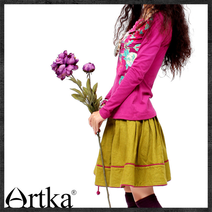 ARTKA 2018 Autumn Hot Cotton Three Dimensional Applique Embroidered Long Sleeve  Skin Friendly Cotton T Shirt  SA10632C-in T-Shirts from Women's Clothing    2