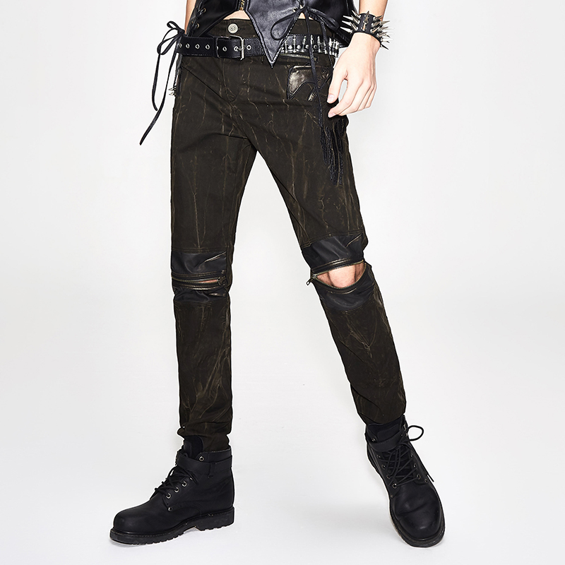 Steampunk Men Long Jean Pants Gothic High Waist Mens Pants Black Brown Tights Slim Trousers with Zippers Streetwear For Male New