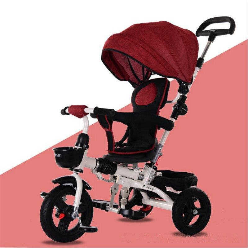 Tricycle pour enfants léger pliable bébé poussette avec siège rotatif vélo pour enfants trois roues 3 en 1 Tricycle