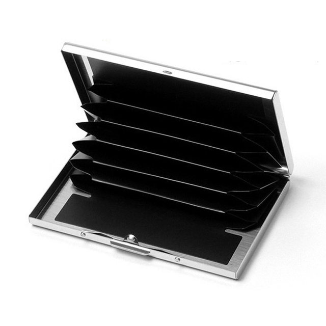 Online shop fashion solid mens stainless steel credit card holder fashion solid mens stainless steel credit card holder id business card case metal wallet for women 6 slots colourmoves