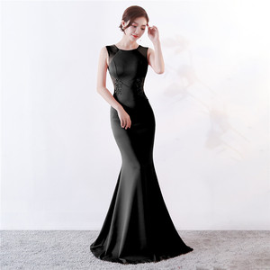 Image 4 - Its Yiiya Evening Dresses Royal O neck Sleeveless Pearls Party gown Elegant Embroidery zipper back long Trumpet Prom dress C188
