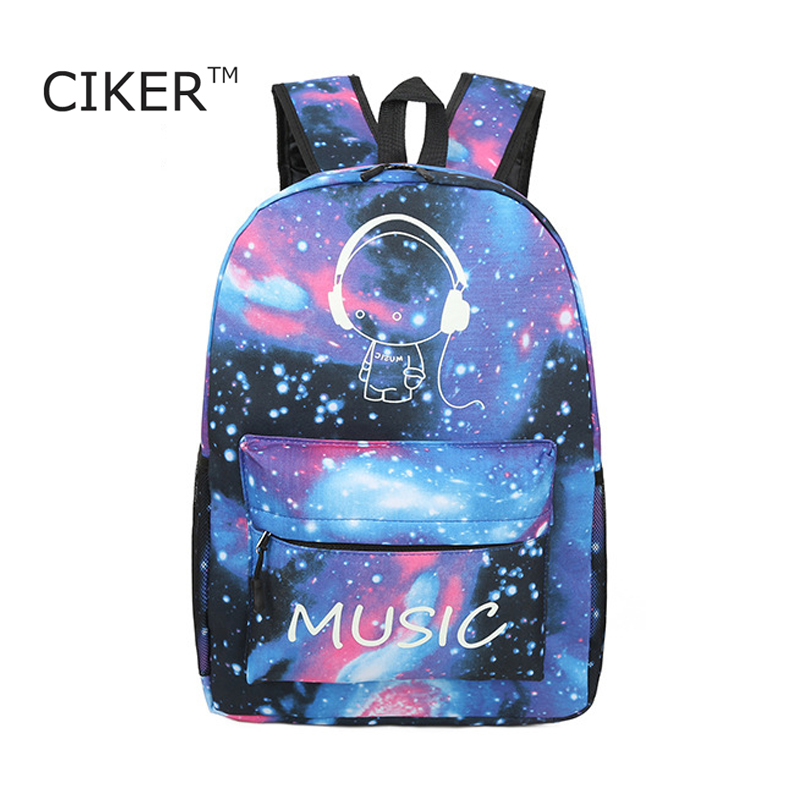 CIKER Brand luminous Galaxy printing font b backpack b font women font b laptop b font