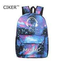 Ciker marca luminoso galaxy impresión mochila mujeres bolsa de ordenador portátil mochila mochilas mochila mochilas para niñas adolescentes de la moda de los hombres