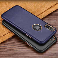RUZSJ Luxury Leather Phone Case For Iphone X Coque Cover Original Genuine Leather Slim Hard Back