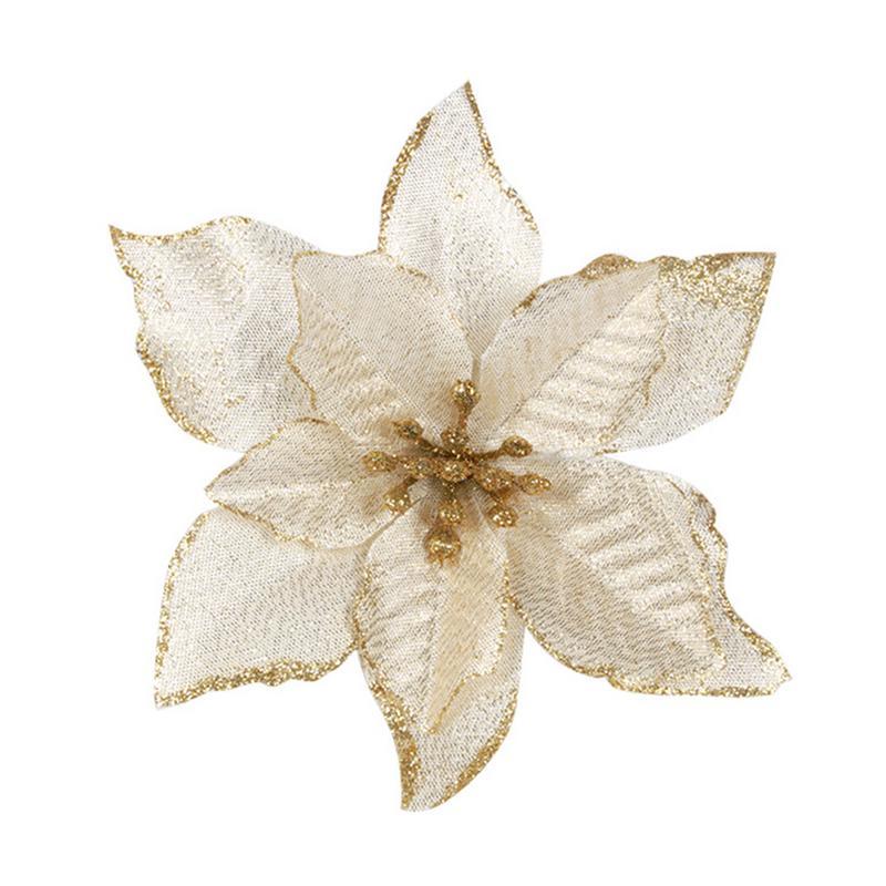 1 шт. 15 см Золотой Край имитация на Рождество цветок для свадебной вечеринки гирлянды украшения многоцветный пластик липкий порошок цветок - Цвет: Золотой