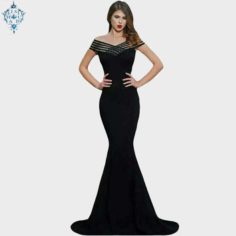 Ameision woman European and American fashion sexy stripes stitching shoulder-length slim fishtail  evening dress party dresses