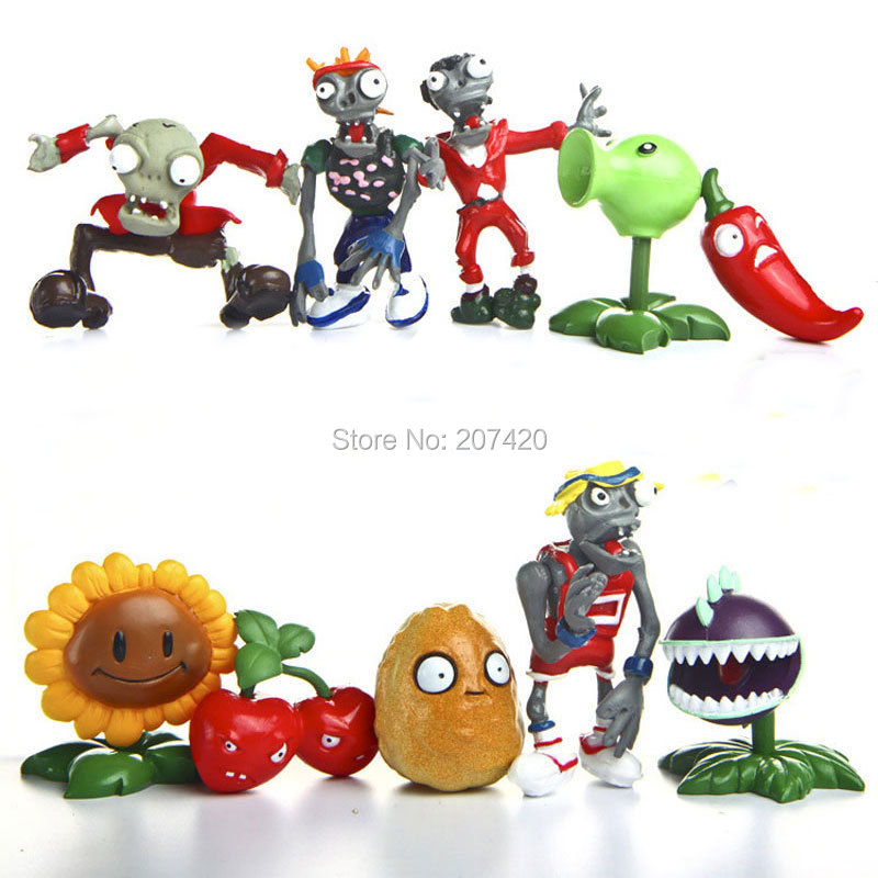 10pcs/set PVZ Plants vs Zombies Generation 1 PVC Action Figures Collection Model Toys DollsAction & Toy Figures