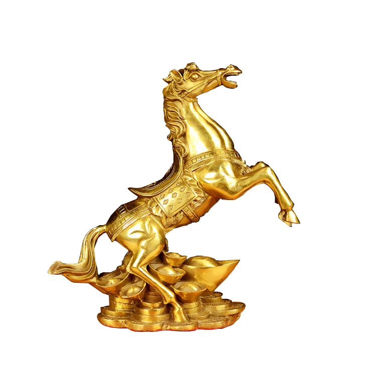 Brass Money Running Horse Statues Chinese Handmade Figurines Home Decor Collectible Gift