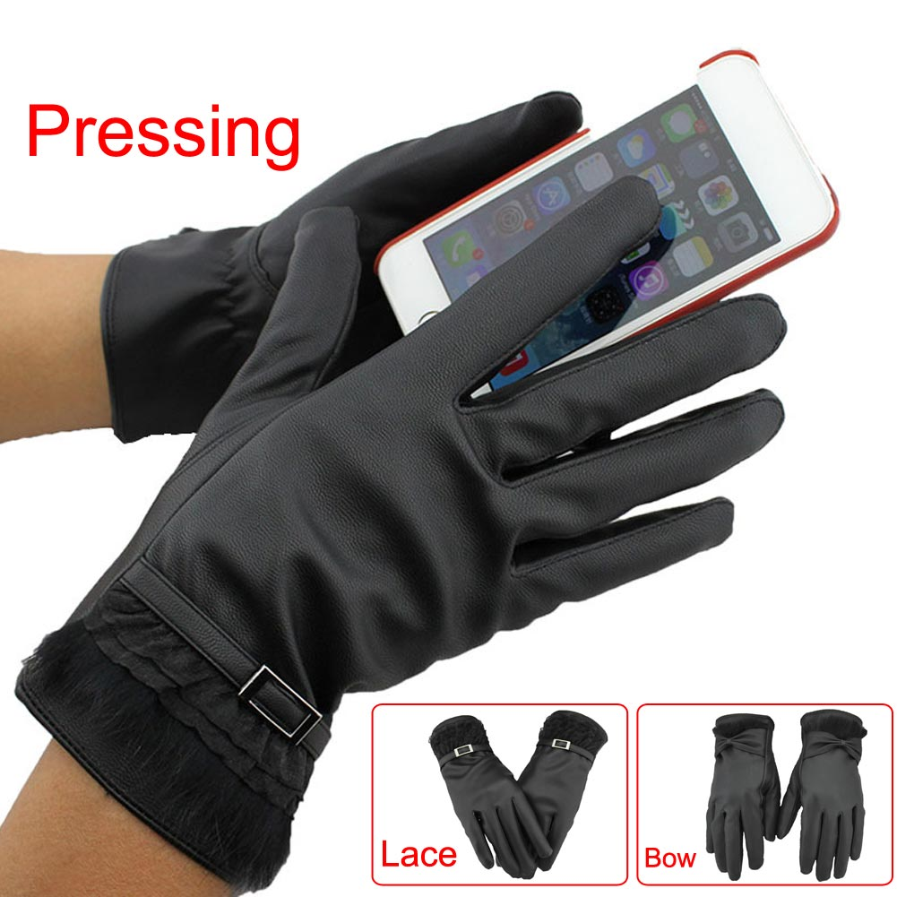 Driving gloves wholesale - Fashion Elegant Women Lady Winter Soft Pu Leather Warm Driving Gloves Texting Touch Screen Mitten Lace