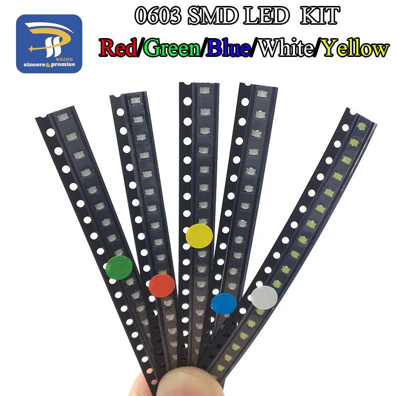 5 cores x20 pces = 100 pces smd 0603 led diy kit super brilhante vermelho/verde/azul/amarelo/branco água clara led luz diodo conjunto