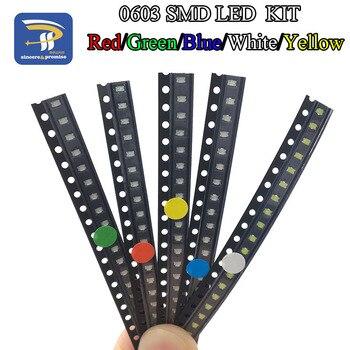 5 farben x20 Stücke = 100 stücke SMD 0603 LED DIY Kit Super Helle Rot/Grün/Blau/gelb/Weiß Wasser Klar LED Licht Diode Set