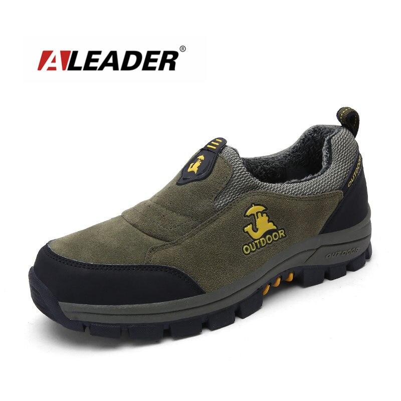 Aleader Plus Size 37-47 Winter Men Hiking Boots Male Slip-on Outdoor Shoes Climbing Trekking Sneakers Athletic Sport Zapatillas hot sale winter hiking shoes men breathable outdoor leather trekking lace up sneakers boots brand climbing slip camouflage hunt