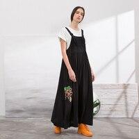 IRINAW097 Новое поступление Лето 2018 оригинальный дизайн вышитые купро повседневные длинные макси комбинезоны черное платье