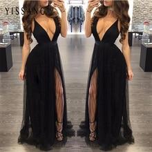 Yissang Black Maxi Dress Chiffon Solid Sexy Evening Party Spaghetti Strap Dresses Long High Split Night Club Vestidos Wholesale