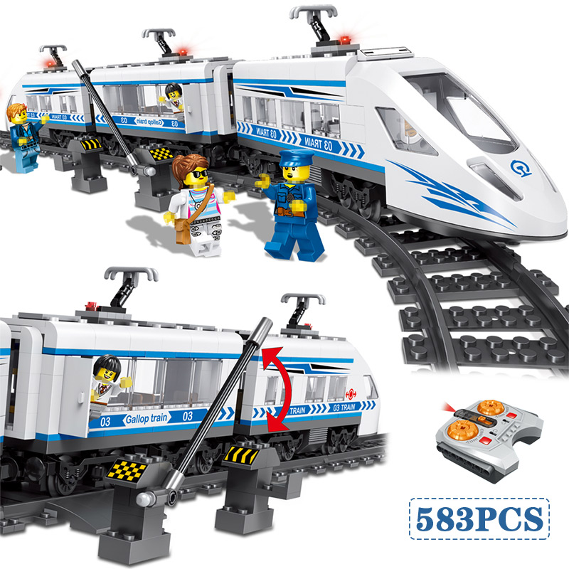 583 pièces RC Blocs Compatibles Legoed Technik Ville Gare Ferroviaire à grande vitesse Blocs De Construction Briques Jouets Pour Garçons