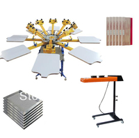 8 Color 8 Station Silk Screen Printing Kit T Shirt Printer Press Equipment Carousel Stretched Frame