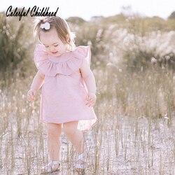 Одежда для малышей летняя детская одежда детское платье повседневное однотонное розовое платье для новорожденных девочек платье Vestidio