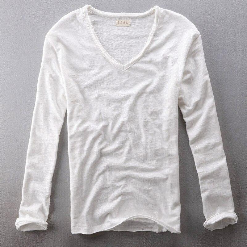 Mens Tops Tees  Summer New Cotton Linen V Neck Long Sleeve T Shirt Fashion Trends