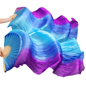 Image 5 - 100% Silk Dance Fans High Quality Chinese Silk Fans 1 Pair Handmade Dyed Silk Belly Dance Fans 23 Colors 120/150/180/230*90 cm
