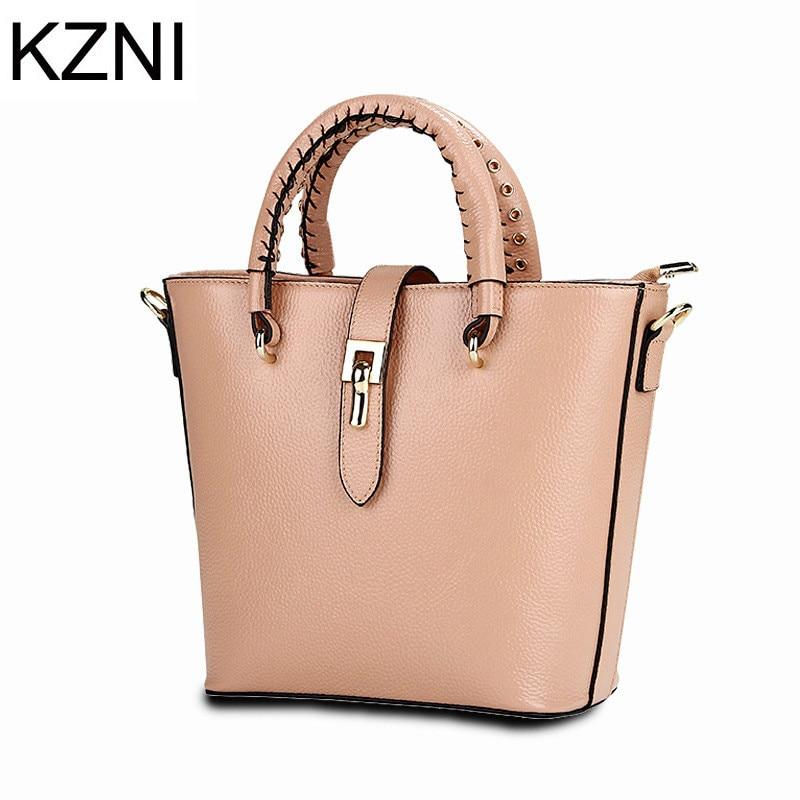 ФОТО KZNI ladies hand bags luxury handbags women bags designer genuine leather women messenger bags sacoche femme marque luxe L121817